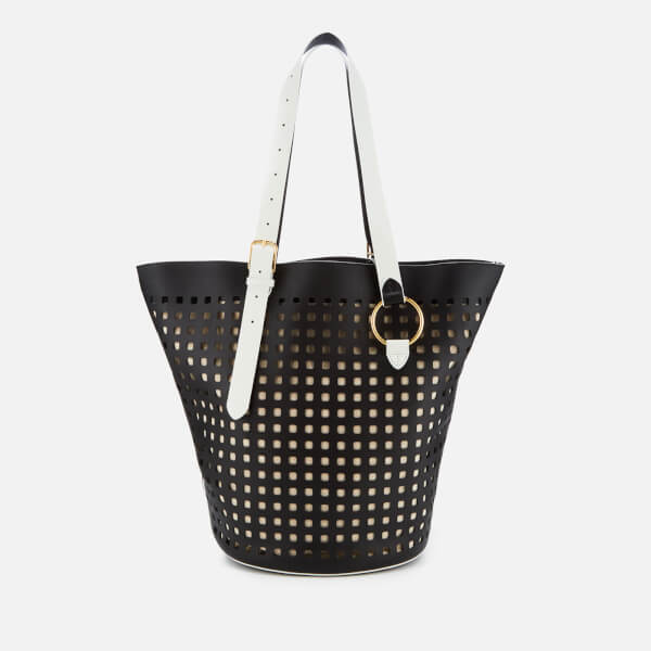 Diane von Furstenberg Women's East/West Belted Perforated Tote Bag - Black/Ivory