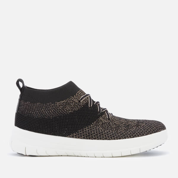 FitFlop Women's Uberknit Hi-Top Trainers - Black/Bronze Metallic