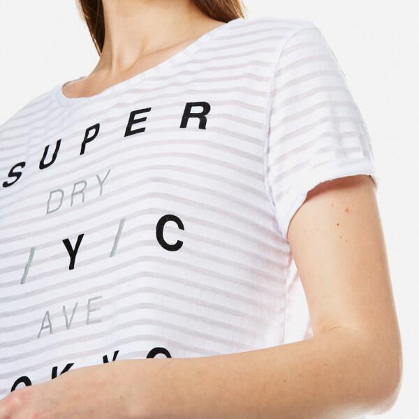 Superdry Women's NYC Burnout Stripe Boyfriend T-Shirt - Optic White: Image 31