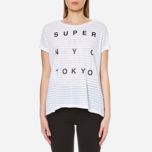 Superdry Women's NYC Burnout Stripe Boyfriend T-Shirt - Optic White: Image 01