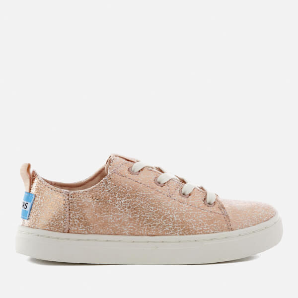 TOMS Kids' Lenny Crackle Foil Trainers - Rose Gold
