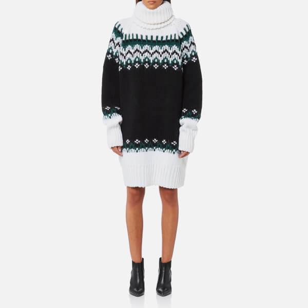 MM6 Maison Margiela Women's Oversized Icelandic Knitted Jumper Dress - Mixed Black/White
