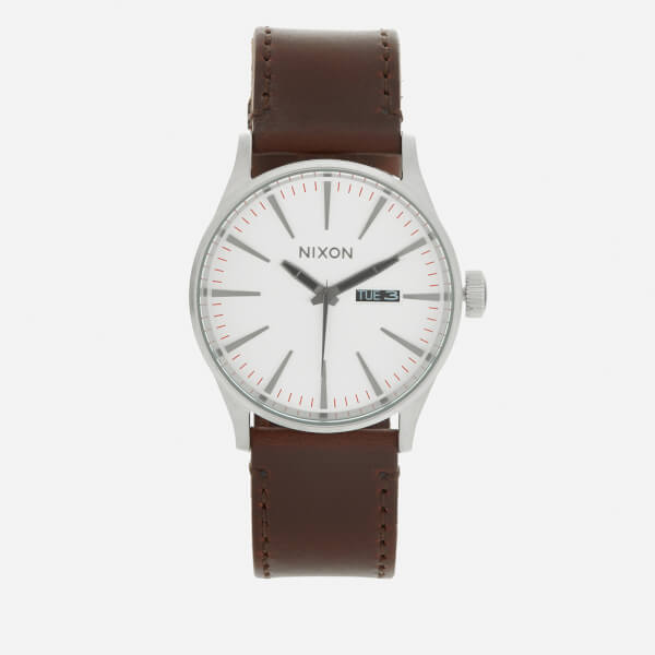 Nixon Men's The Sentry Leather Watch - Silver/Brown