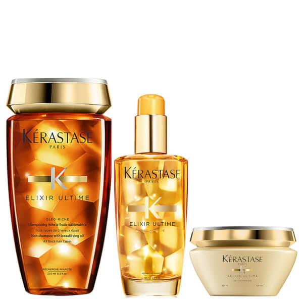 Kérastase Elixir Ultime Bain Riche 8.5oz, Ultime Hair Oil 3.4oz & Masque Elixir Ultime 6.8oz