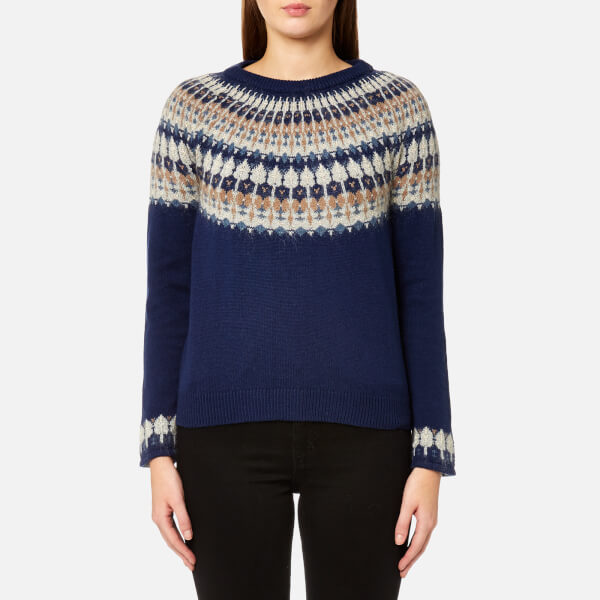 GANT Women's Cotton Wool Fairisle Crew Neck Jumper - Persion Blue ...