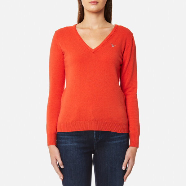 GANT Women's Superfine Lambswool V Neck Jumper - Fiesta Orange