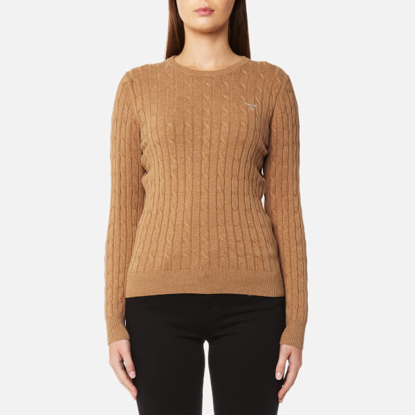 GANT Women s Stretch Cotton Cable Crew Jumper - Camel Melange Womens ... 69cc32cb4e32