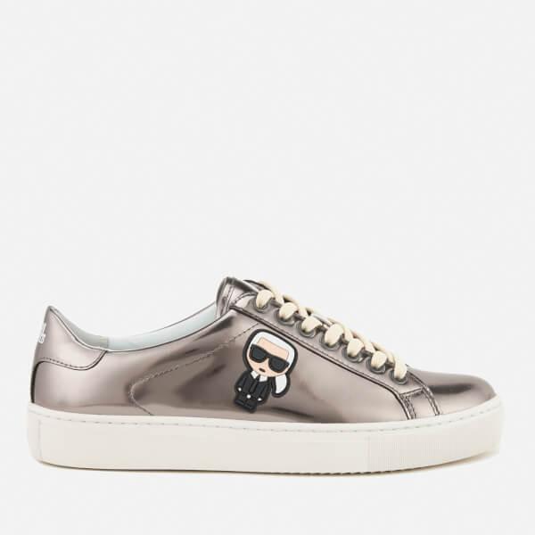 Karl Lagerfeld Women's Kupsole Leather Karl Ikonik Low Lace Trainers - Dark Silver Mirror