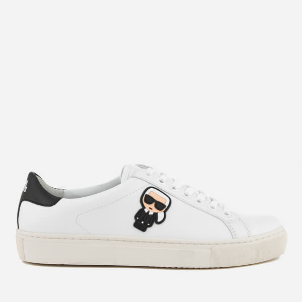 Karl Lagerfeld Women's Kupsole Leather Karl Ikonik Low Lace Trainers - White