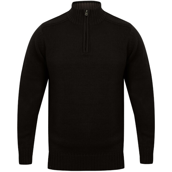 Kensington Men's Zip Down Jumper with Ribbed Detailing - Black