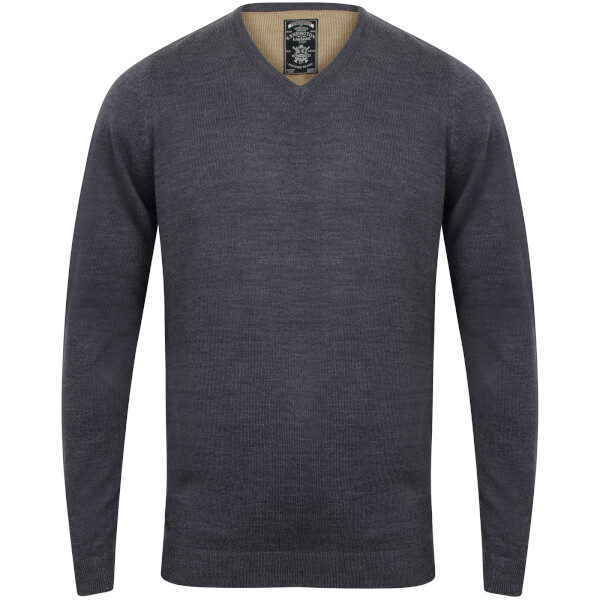 Kensington Men's Basic V Neck Jumper - Midnight Blue Marl