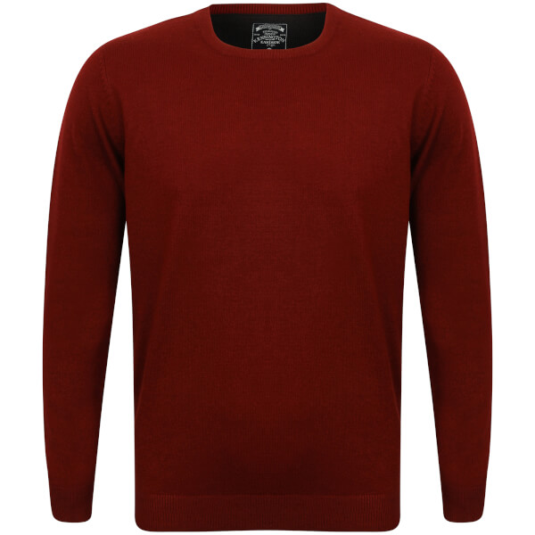 Kensington Men's Basic Crew Neck Jumper - Oxblood
