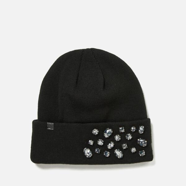 Karl Lagerfeld Women's Geo Stone Beanie - Black