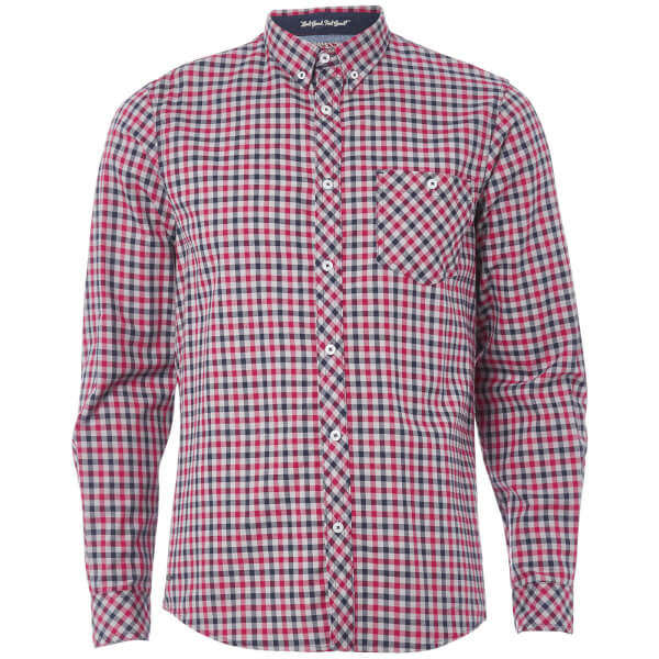 Tokyo Laundry Men's Montpellier Checked Long Sleeve Shirt - Rio Red