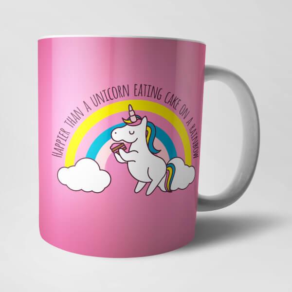 Happier Than A Unicorn Eating Cake Mug