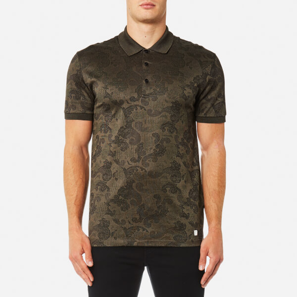 Versace Collection Men's All Over Pattern Polo Shirt - Beige-Nero