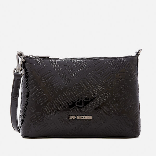 Love Moschino Women's Metallic Embossed Logo Flat Cross Body Bag - Black
