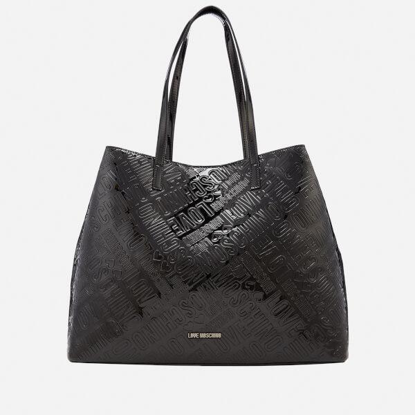 Love Moschino Women's Metallic Embossed Logo Tote Bag - Black