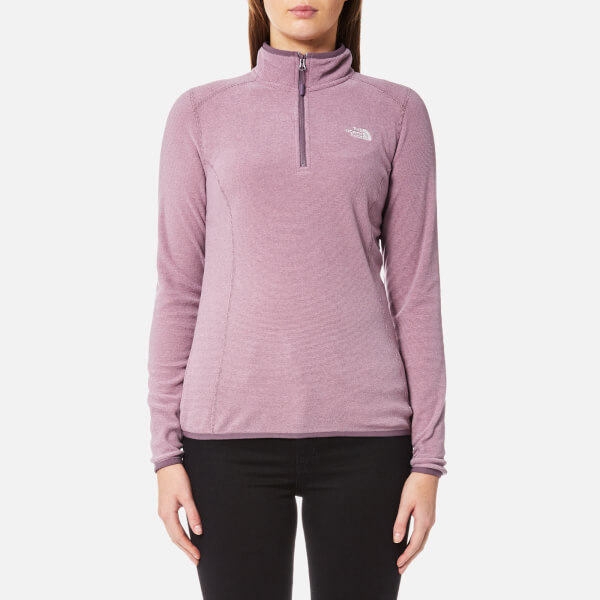 c8e52bbe41 The North Face Women s 100 Glacier 1 4 Zip Fleece Jumper - Black Plum Stripe