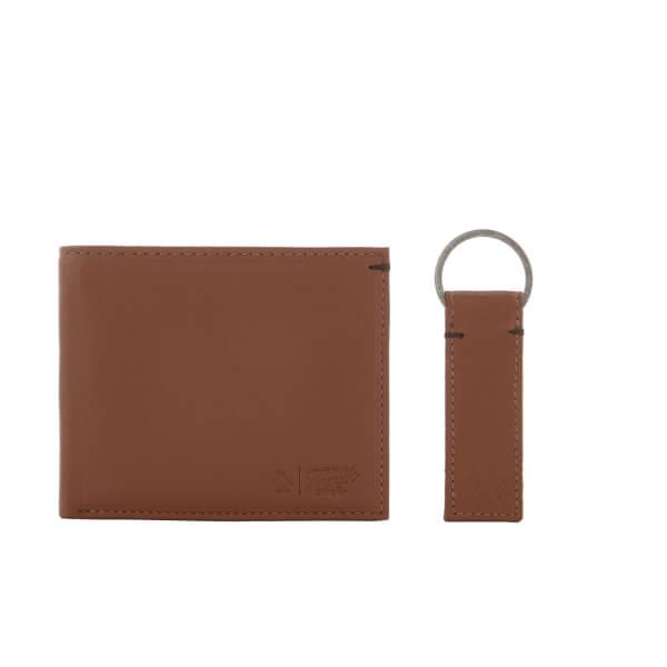 Original Penguin Men's Leather Wallet and Keyring Set - Tan