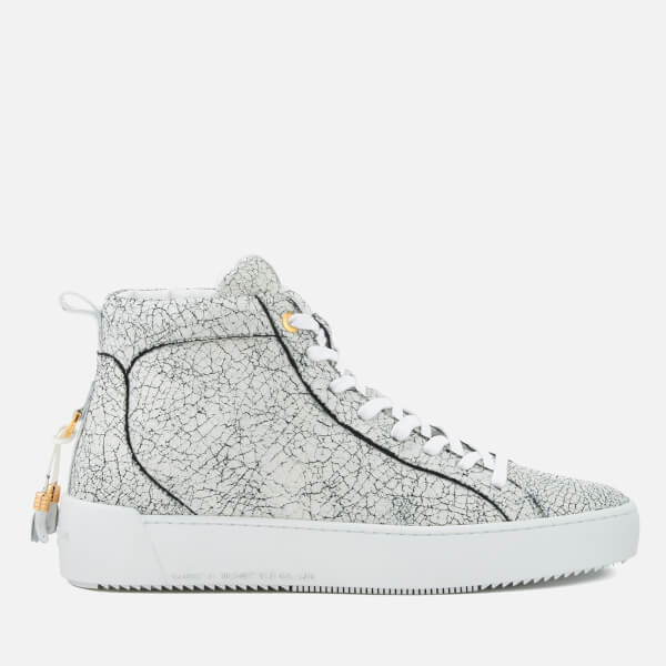 cf8d63666890 Android Homme Men s Alfa Cracked Leather Mid Top Trainers - White  Image 1
