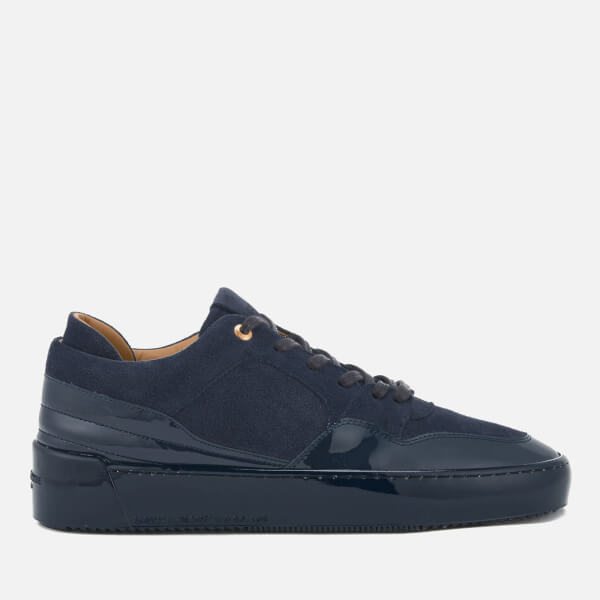 Android Homme Men's Omega Low Suede/Patent Leather Trainers - Navy
