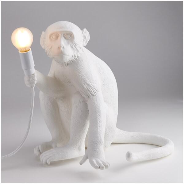 Seletti Sitting Monkey Lamp - White