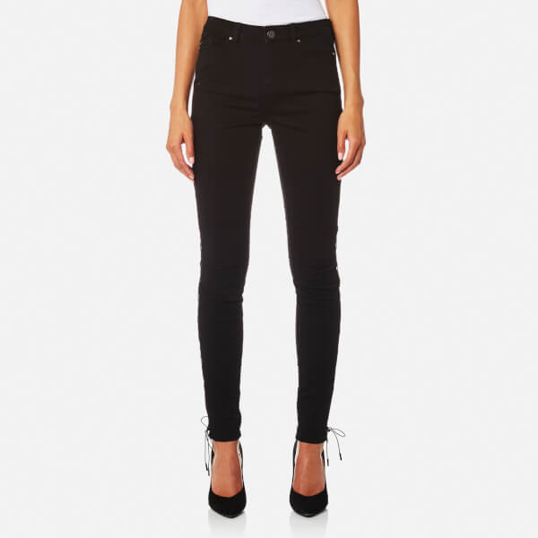 Karl Lagerfeld Women's Skinny Denim Jeans with Lacing Details - Black