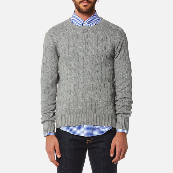 Polo Ralph Lauren Men's Cotton Cable Knitted Jumper - Fawn Grey Heather:  Image 1