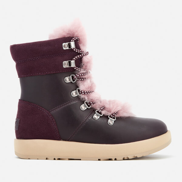 UGG Women s Viki Waterproof Leather Lace Up Boots - Port  Image 1 024ac6c31