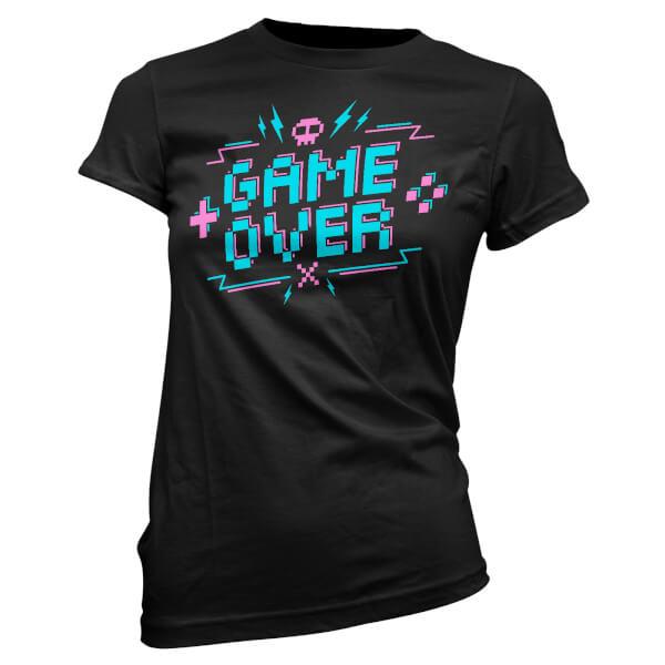 T-Shirt Femme Game Over Pixel Credits - Noir