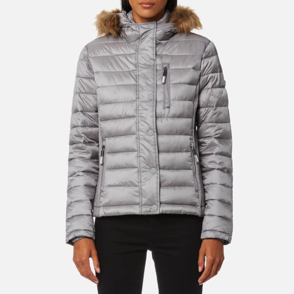 Superdry Women's Luxe Fuji Double Zip Hooded Jacket - Comet Silver