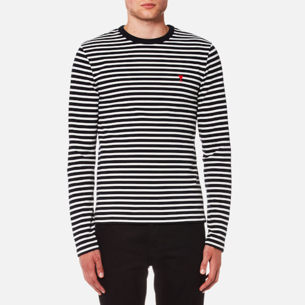 Ami Embroidered Striped Cotton T-shirt - Navy gWlCH