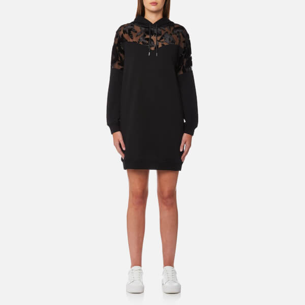 McQ Alexander McQueen Women's Devore Mix Hoody Dress - Black
