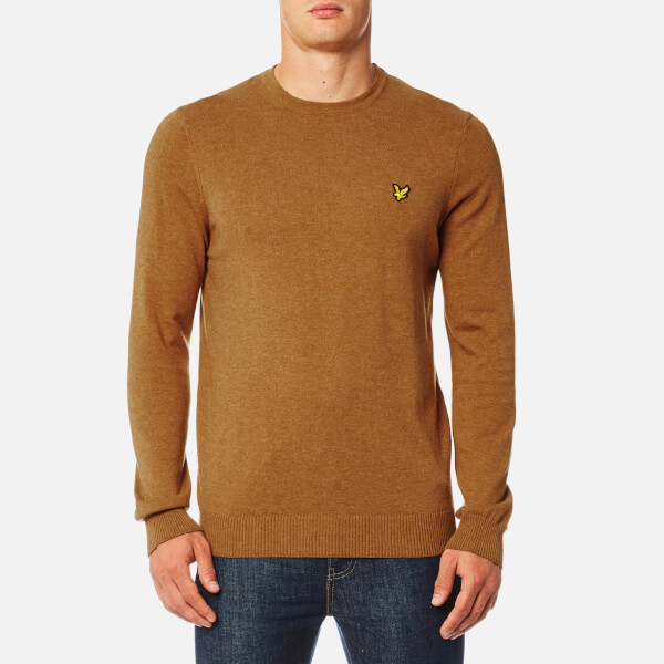 Lyle & Scott Men's Crew Neck Cotton Merino Jumper - Dark Gold Marl