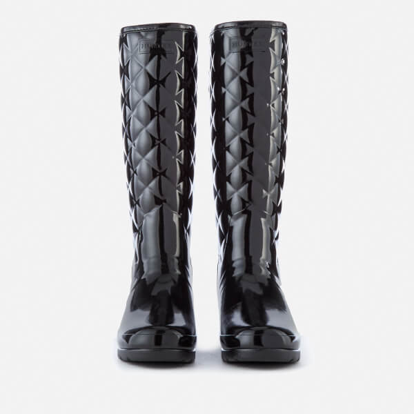 Hunter Women s Refined Gloss Quilt Tall Wellies - Black  Image 4 8ed3181f9