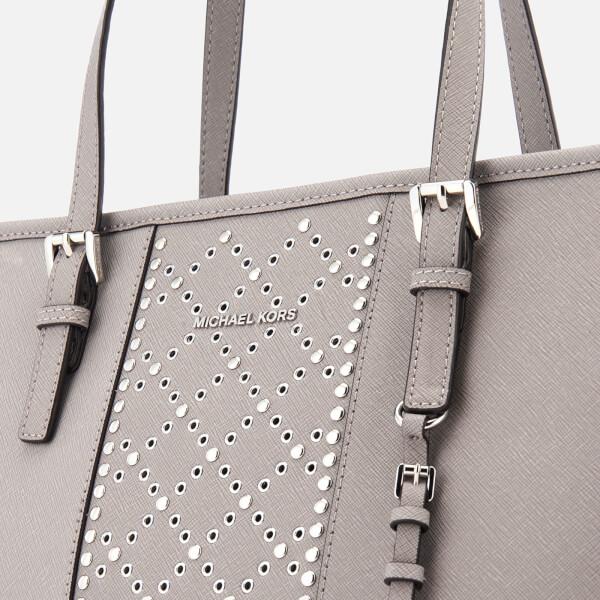 MICHAEL MICHAEL KORS Women s Jet Set Top Studs Zip Tote Bag - Pearl Grey   Image 561cb6661f14e