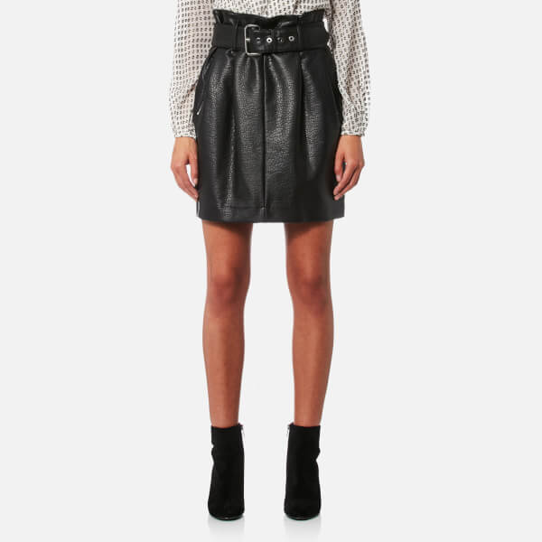 MICHAEL MICHAEL KORS Women's Belted Pleated Leather Skirt - Black