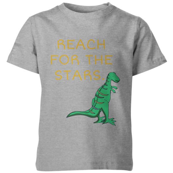 Dinosaur Reach For The Stars Kid's Grey T-Shirt