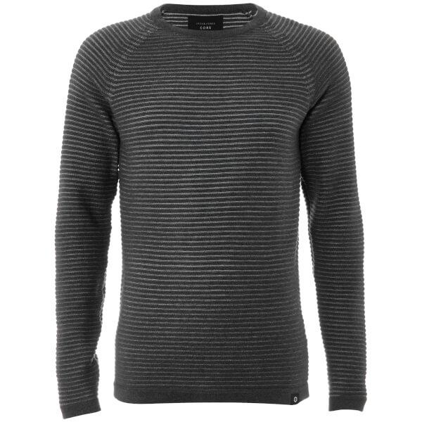 Jack & Jones Men's Core Wind Rib Knitted Jumper - Dark Grey Marl