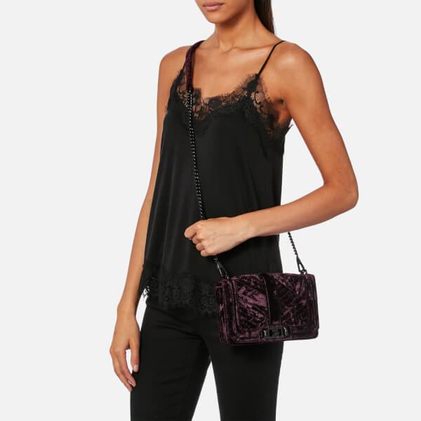 1776b8404b43 Rebecca Minkoff Women s Chevron Velvet Quilted Small Love Cross Body Bag -  Dark Cherry  Image