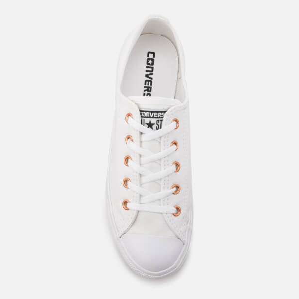 Converse Women s Chuck Taylor All Star Dainty Ox Trainers -  White White Gold  c46565e2c