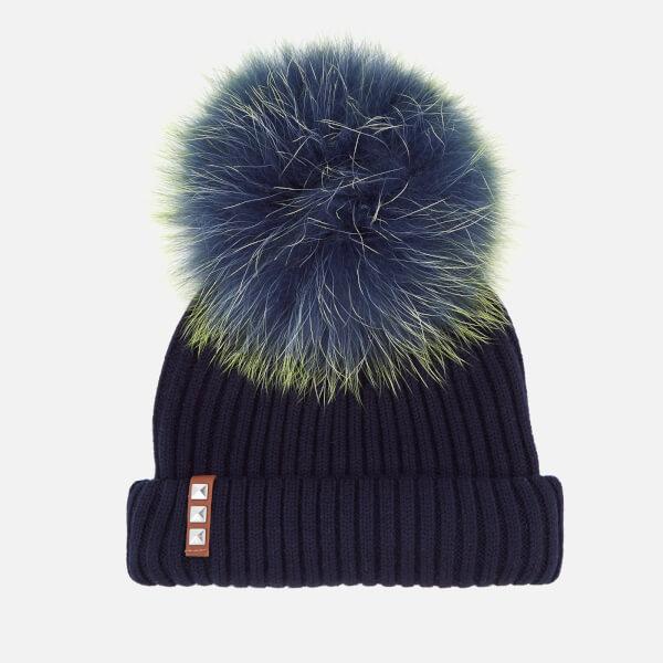 919225c6311 BKLYN Women s Merino Wool Hat with Navy Lime Pom Pom - Navy - Free ...