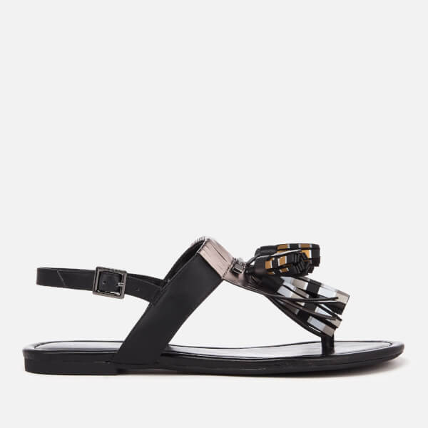9fd6a7ec9 Armani Exchange Women s Tassel Flat Sandals - Black White Gold ...