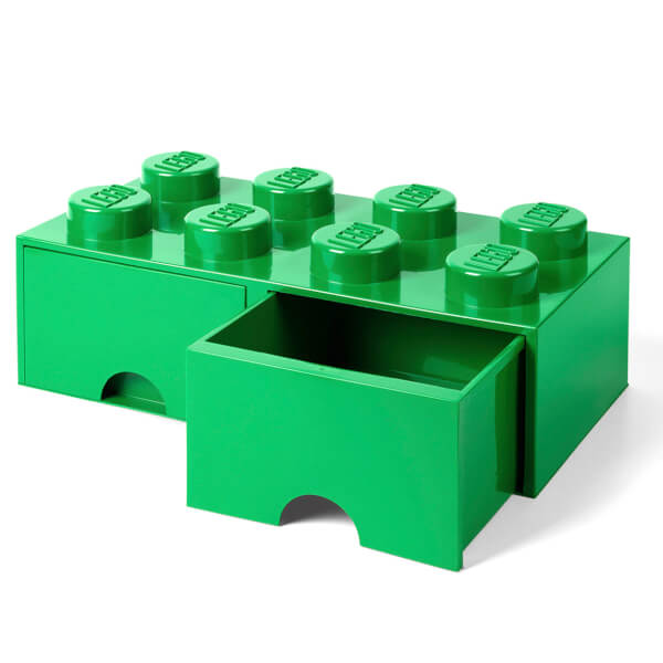 LEGO Storage 8 Knob Brick - 2 Drawers (Dark Green) Toys   TheHut.com