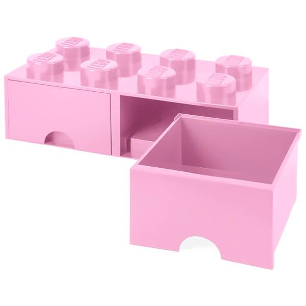 LEGO Storage 8 Knob Brick - 2 Drawers (Light Pink) Toys | TheHut.com