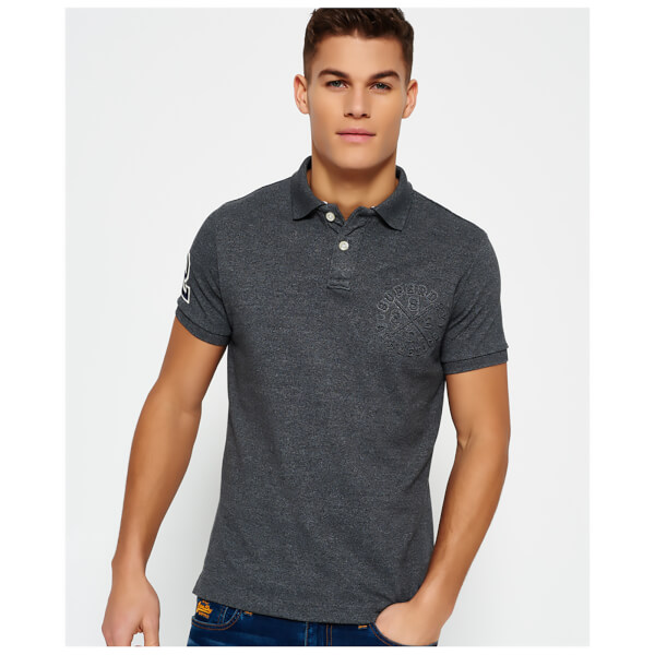 Superdry Men's Classic Embossed Pique Short Sleeve Polo Shirt - Grey Grit