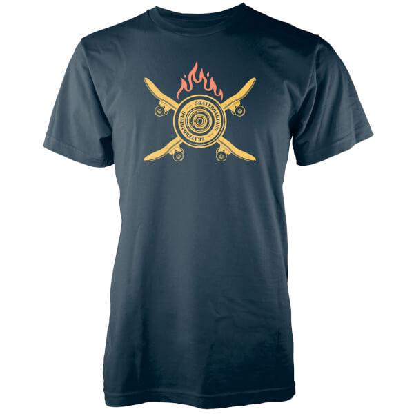 T-Shirt Homme Skateboard et Flammes - Bleu Marine
