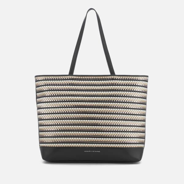 Armani Exchange Women's Small Woven Tote Bag - Black