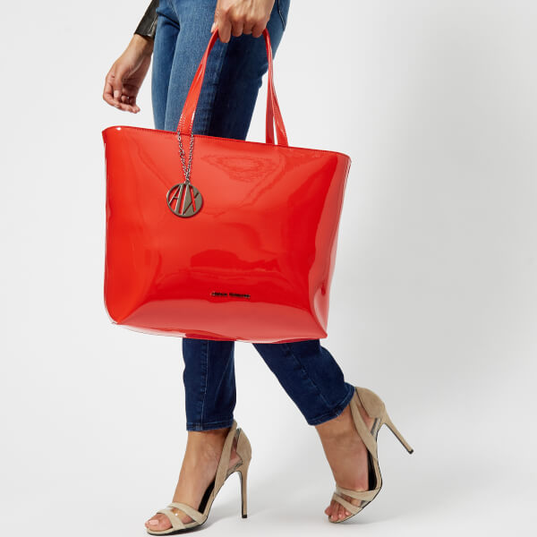 4a11666dcde6 Armani Exchange Women s Patent Tote Bag - Poppy Red  Image 3